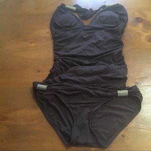 Carmen Marc Valvo Swim Brown Two Piece Swimsuit